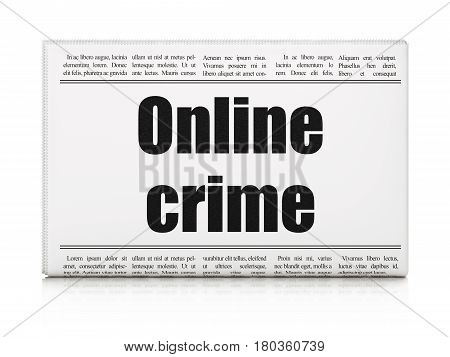 Protection concept: newspaper headline Online Crime on White background, 3D rendering
