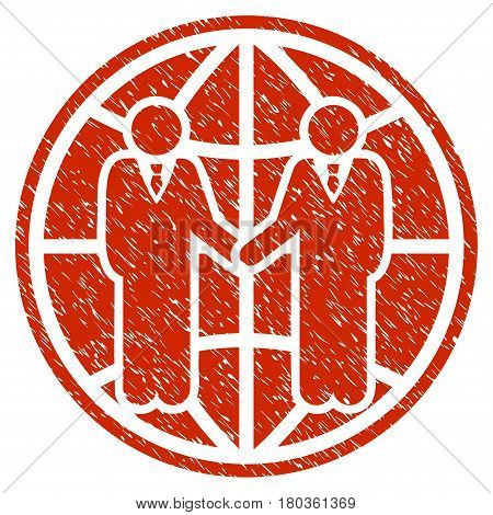 Grunge Global Partnership icon with grunge design and scratched texture. Unclean vector red pictogram for rubber seal stamp imitations and watermarks. Draft sticker symbol.