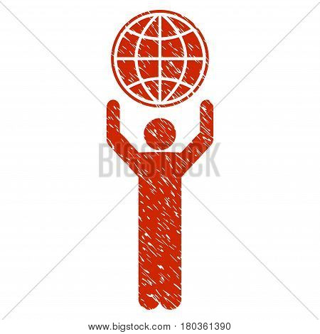 Grunge Globalist icon with grunge design and scratched texture. Unclean vector red pictogram for rubber seal stamp imitations and watermarks. Draft sign symbol.
