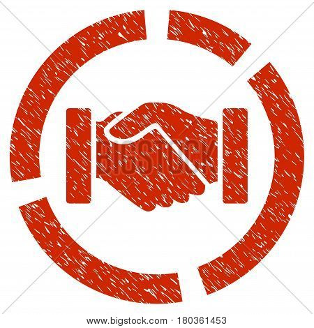 Grunge Handshake Diagram icon with grunge design and dust texture. Unclean vector red pictogram for rubber seal stamp imitations and watermarks. Draft emblem symbol.