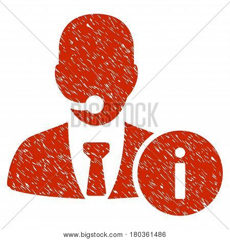 Grunge Help Desk icon with grunge design and unclean texture. Unclean vector red pictogram for rubber seal stamp imitations and watermarks. Draft sign symbol.