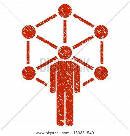 Grunge Human Network icon with grunge design and scratched texture. Unclean vector red pictogram for rubber seal stamp imitations and watermarks. Draft emblem symbol.
