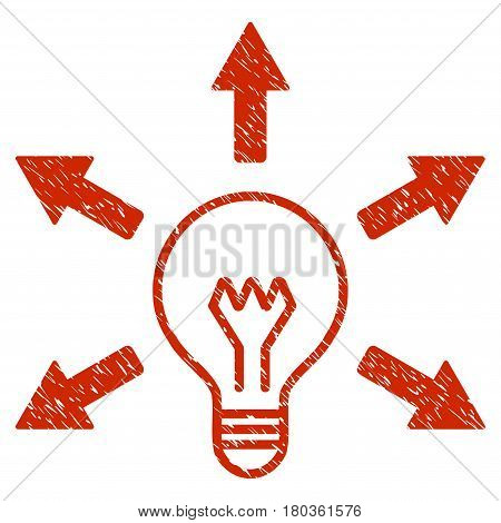 Grunge Idea Bulb icon with grunge design and scratched texture. Unclean vector red pictogram for rubber seal stamp imitations and watermarks. Draft sticker symbol.