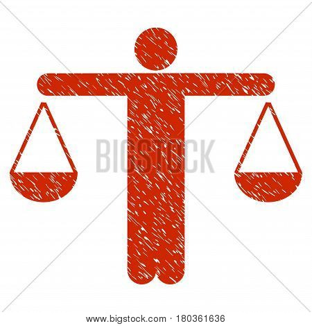 Grunge Judge Person icon with grunge design and scratched texture. Unclean vector red pictogram for rubber seal stamp imitations and watermarks. Draft emblem symbol.