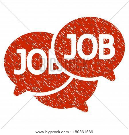 Grunge Labor Market icon with grunge design and dirty texture. Unclean vector red pictogram for rubber seal stamp imitations and watermarks. Draft sticker symbol.