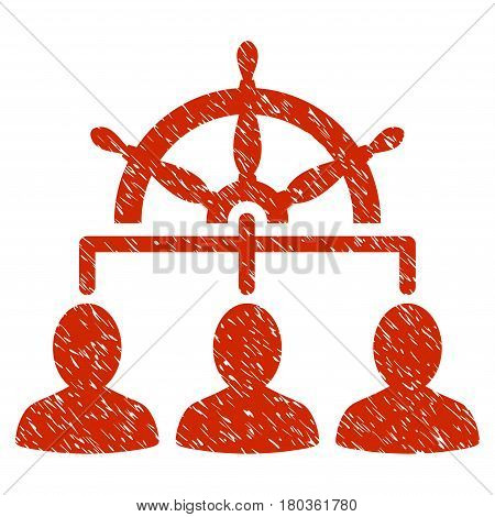 Grunge Management Steering Wheel icon with grunge design and scratched texture. Unclean vector red pictogram for rubber seal stamp imitations and watermarks. Draft sign symbol.