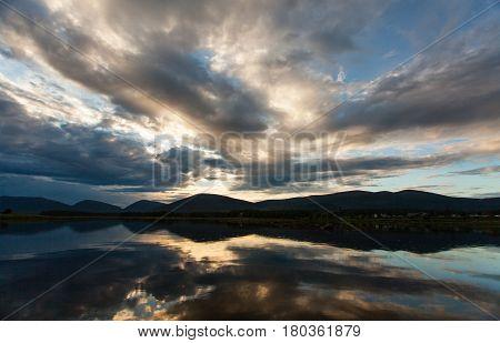 White sea, Luvenga, white polar night, russian nord, sky with clouds sundown