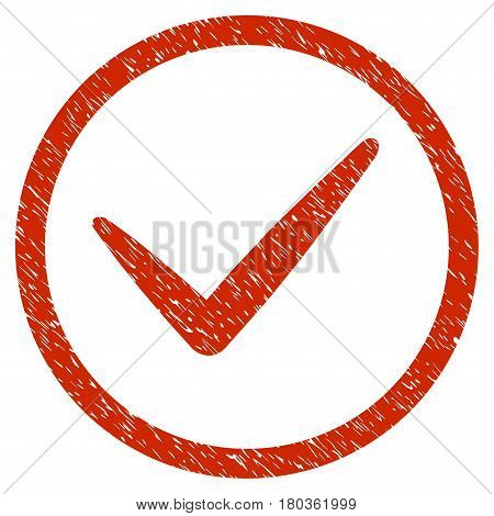 Grunge Ok icon with grunge design and scratched texture. Unclean vector red pictogram for rubber seal stamp imitations and watermarks. Draft emblem symbol.