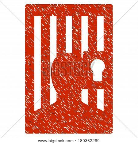 Grunge Prison Door icon with grunge design and dirty texture. Unclean vector red pictogram for rubber seal stamp imitations and watermarks. Draft emblem symbol.