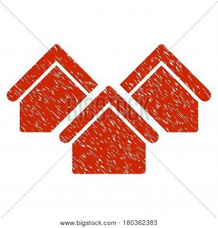 Grunge Real Estate icon with grunge design and unclean texture. Unclean vector red pictogram for rubber seal stamp imitations and watermarks. Draft sticker symbol.