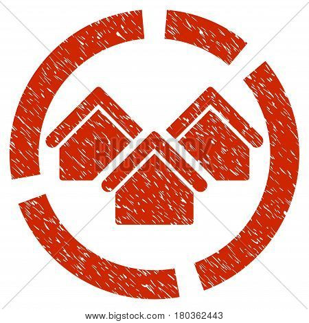 Grunge Realty Diagram icon with grunge design and unclean texture. Unclean vector red pictogram for rubber seal stamp imitations and watermarks. Draft emblem symbol.