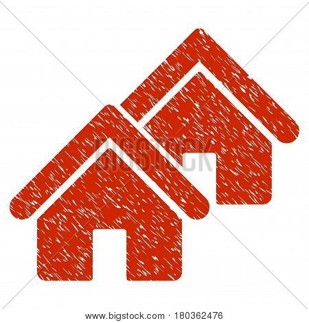 Grunge Realty icon with grunge design and scratched texture. Unclean vector red pictogram for rubber seal stamp imitations and watermarks. Draft sign symbol.