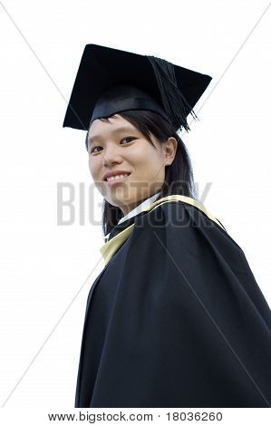 Asian graduate lady smiling