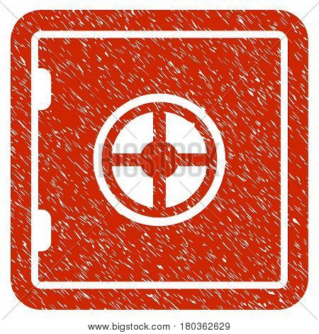 Grunge Safe icon with grunge design and dust texture. Unclean vector red pictogram for rubber seal stamp imitations and watermarks. Draft emblem symbol.