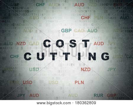 Business concept: Painted black text Cost Cutting on Digital Data Paper background with Currency