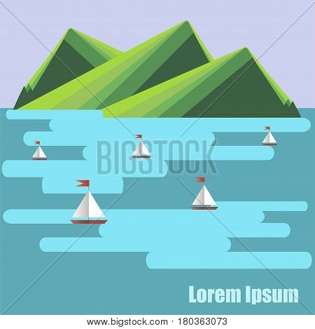 Flat design background with green mountain, blue sea, ships, Lorem ipsum stock vector illustration