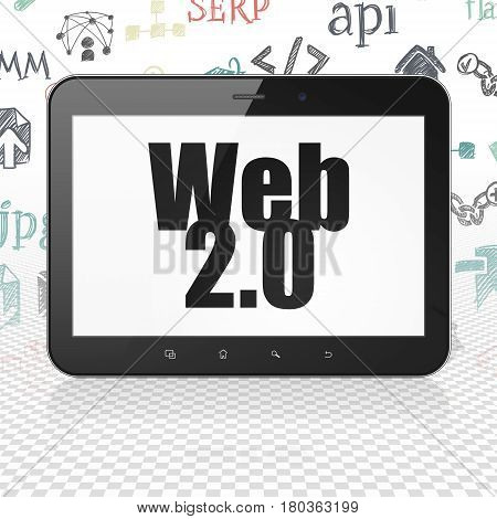 Web development concept: Tablet Computer with  black text Web 2.0 on display,  Hand Drawn Site Development Icons background, 3D rendering