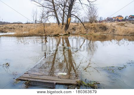 The Sestra River during spring flood, Klin, Moscow Oblast, Russia