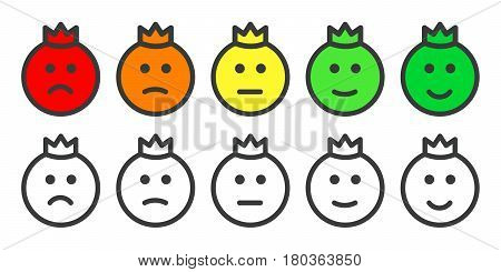 Emoji prince icons, emoticons for rate of satisfaction level. Five grade smileys for using in surveys. Isolated vector illustration on white background
