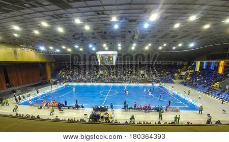 KYIV UKRAINE - JANUARY 29 2017: Friendly Futsal match Ukraine v Spain at Palats of Sports in Kyiv Ukraine