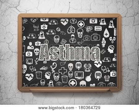Health concept: Chalk White text Asthma on School board background with  Hand Drawn Medicine Icons, 3D Rendering