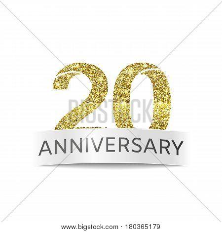 Twenty year anniversary. The banner 20th birthday Golden color