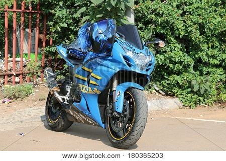 Parked Blue 1000Cc Motorbike At Yearly Mass Ride