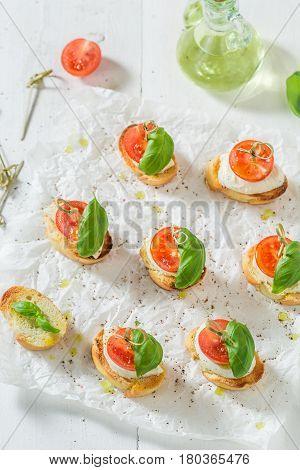 Delicious Crostini Made With Mozzarella And Tomato For A Snack