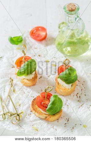 Fresh Crostini Made With Mozzarella And Tomato For A Snack