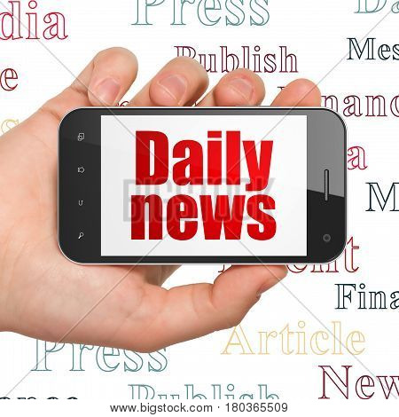 News concept: Hand Holding Smartphone with  red text Daily News on display,  Tag Cloud background, 3D rendering