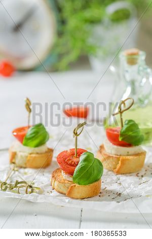 Closeup Of Crostini Made With Mozzarella And Tomato