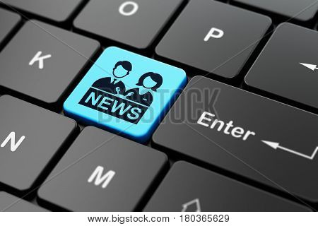 News concept: computer keyboard with Anchorman icon on enter button background, 3D rendering
