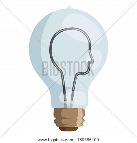 Idea face lamp concept vector. Light bulb head icon. Brain lamp vector and light bulb power symbol. Brain lamp creative technology energy and innovation design inspiration icon. Electricity mind.