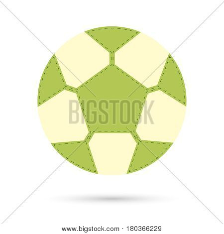 Football soccer ball icon with shadow, flat design. Vector illustration.