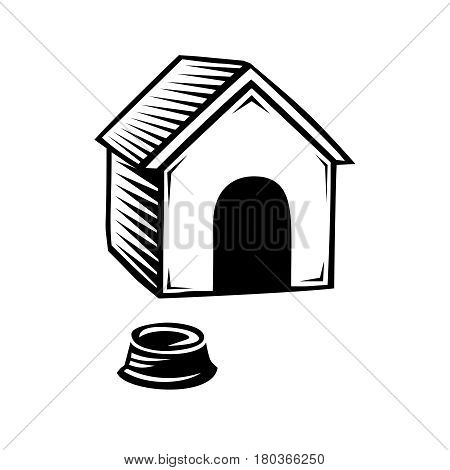 Doghouse and plate for eating icon, isolated on white background, vector illustration.