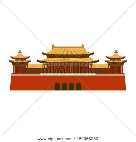 Building or Palace with east asian roof decoration. Japanese, Chinese or Korean roof styled building isolated.