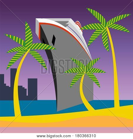 Bon Voyage Vacation vector illustration, palm tree and cruise ship arriving at a tropical island.