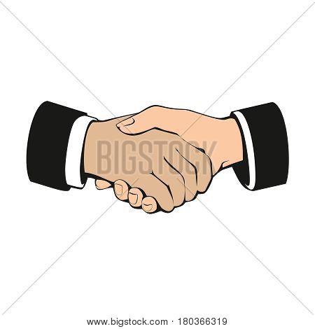 Business handshake, partnership and teamwork, vector illustration