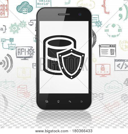 Database concept: Smartphone with  black Database With Shield icon on display,  Hand Drawn Programming Icons background, 3D rendering