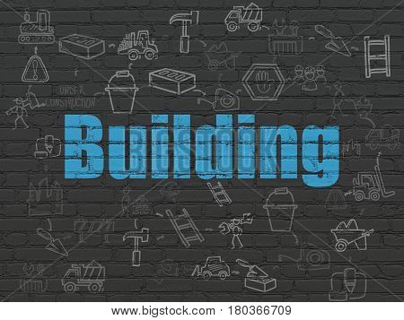 Constructing concept: Painted blue text Building on Black Brick wall background with Scheme Of Hand Drawn Construction Icons