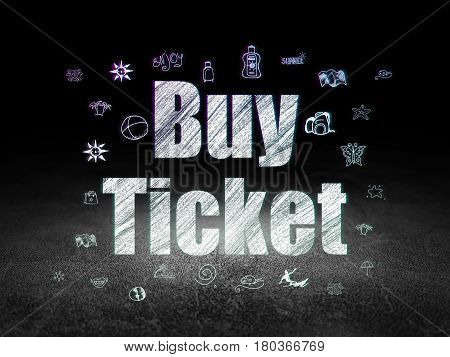 Travel concept: Glowing text Buy Ticket,  Hand Drawn Vacation Icons in grunge dark room with Dirty Floor, black background
