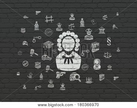 Law concept: Painted white Judge icon on Black Brick wall background with  Hand Drawn Law Icons