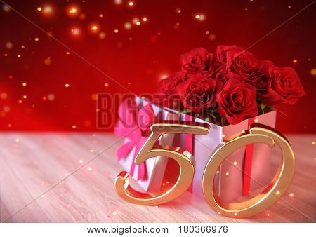 birthday concept with red roses in gift on wooden desk. 3D render - fiftieth birthday. 50th