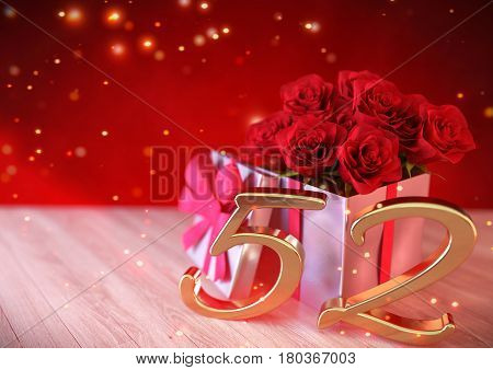 birthday concept with red roses in gift on wooden desk. 3D render - fifty-second birthday. 52nd