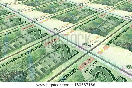 Zimbabwean dollar bills stacked background. 3D illustration.
