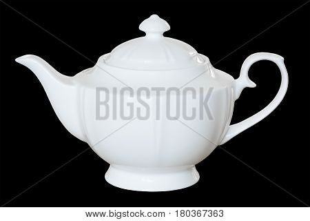 White Porcelain Teapot To Brew Tea Or Fragrant, Healing Herbs. Isolated, Black ..background.