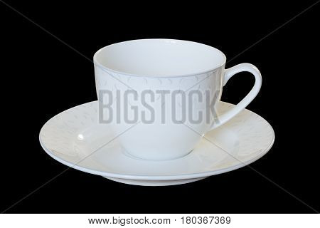 White Porcelain Cup With A Saucer For Tea Or Coffee, Demitasse Or Teacup. Isolated, ..black Backgrou