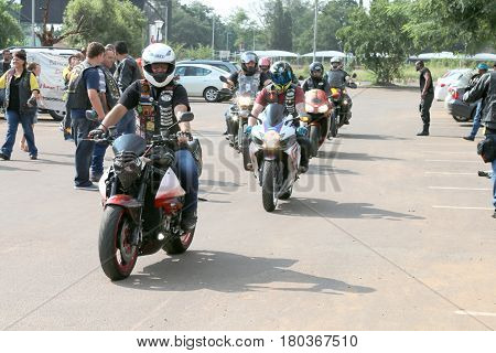 Bikers Arriving At Yearly Mass Ride