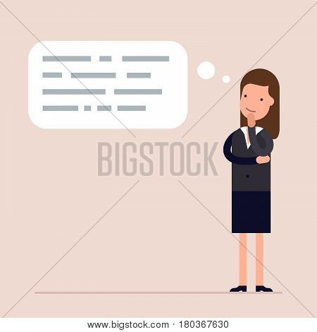 Businesswoman or manager thinks. Abstract text in speech bubble. Concept of the thought process. Flat characte in cartoon style