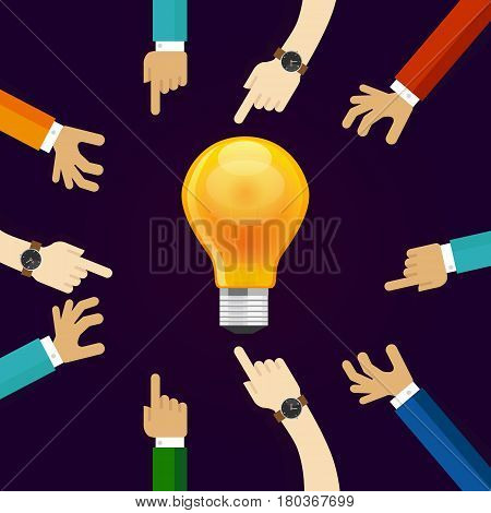 many hands working together for an idea. a bulb lamp shine. concept of teamwork collaboration and participation in business creativity and innovation vector